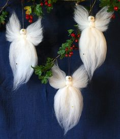 Waldorf Christmas Angels Fairy Wool 3 pack by BarbarasAngelsUKThese would be pretty easy to make and really pretty hung with boughs of Holly and Fir. Christmas Angel Decorations, Diy Felt Christmas Tree, Angel Ornaments, Christmas Angels, Christmas Ornaments, Crochet Ornaments, Crochet Snowflakes, Diy Ornaments, Crochet Christmas