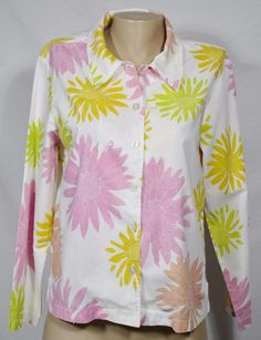 FRESH PRODUCE White/Multicolor Floral Print Shirt Medium Long Sleeves Cotton USA #FreshProduce #ButtonDownShirt #Casual