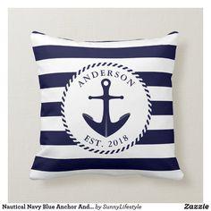 Custom Pillows, Decorative Throw Pillows, Nautical Cushions, Blue Cushions, Nautical Anchor, Nautical Design, Nautical Theme, Nautical Bedroom Decor, Anchor Bedroom