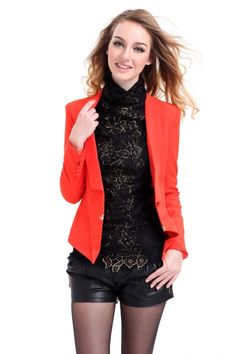 Orange Chelsea Collar Buttoned Cuff Polyester Spandex Fitted Women's Suit Jacket