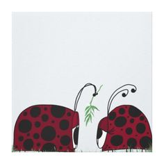 A Guaranteed Kiss Wrapped Canvas By #OneArtsyMomma #ladybug #Christmasart