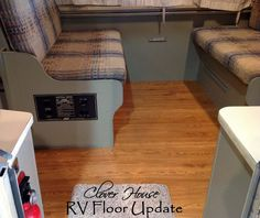 Great how-to on prep and install of peel-n-stick planks. I like the painted benches, that would be a great way to tie in be achy colors ( could even do a combo of coral and turquoise). Clover House: RV Remodel on a Budget - Floor Update