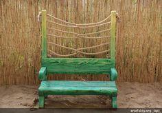Drewniana ławeczka z linami dla dzieci | _(qp)_Drewniane place zabaw i zabawki.