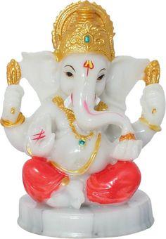 Art N Hub God Ganesh / Ganpati / Lord Ganesha Idol- Marble Look Handicraft Decorative Home & Temple Décor God Figurine / Statue Gift item Showpiece - 12 cm