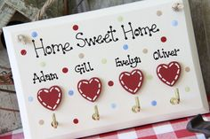 Home Sweet Home handmade personalised key holder