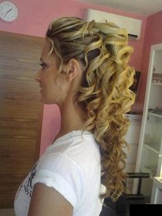 Grow hair, Grow! I want this style for my wedding! Perfect combo of up AND down. :)
