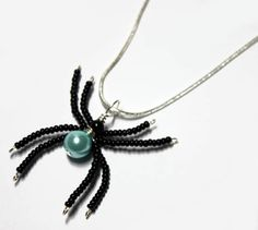 Beaded Spider Wire Wrapped Light Blue Swavoski Pearl Spider Pendant by Nixcreations, $19.99