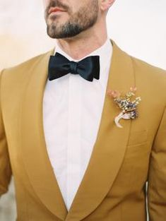 "We're Calling It Now: Ochre Will Be the ""It"" Color of Fall 2019 Weddings! Tuxedo Wedding, Wedding Groom, Wedding Attire, Wedding Tuxedos, Wedding Men, Wedding Things, Wedding Dresses, Gold Wedding, Bride Groom"