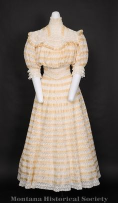 2007.46.09, wedding dress, 1907, worn by Agnes Metully during marriage to Charles (Dragutin) Stefanich, January 13, 1907.