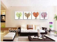 New 2013 pictures modern 4 piece canvas wall art   oil painting the tree with four seasons abstract tree painting 30cm*30cm*4 $74.74