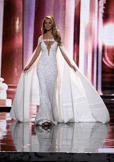 Miss USA, Olivia Jordan, in evening gown at Miss Universe 2015