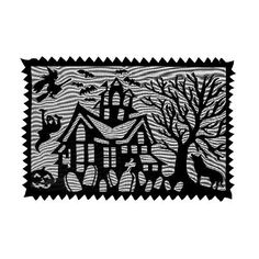 """Heritage Lace Spooky Hollow 14-Inch by 20-Inch Placemat, Black, Set of 2 by Heritage Lace. $11.44. Machine wash cold, gentle. Made in USA. Fine-gauge lace. 14-Inch by 20-inch. Table textile. Spooky Hollow 14-inch by 20-inch set of two Black Placemat that has cats and bats, witches and ghosts - and here and there, a haunted house or two - add """"scary chic"""" to this spooktacular collection."""