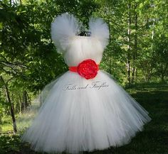 Flower girl dress Ivory with Coral Flower Sash and Sleeves  Weddings, Parties, Formal Occasions..OTHER COLORS... Newborn up to Size 16