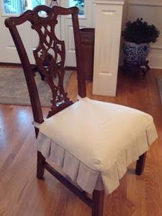 Dining Chair Slipcovers - traditional - - nashville - by Fabric Interiors Custom Slipcovers Dining Room Seat Covers, Dining Room Chair Slipcovers, Seat Covers For Chairs, Dining Room Chairs, Upholstered Chairs, Kitchen Chair Covers, Chair Back Covers, Side Chairs, Custom Slipcovers