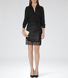 Womens Black Lace Trim Leather Skirt - Reiss Lana