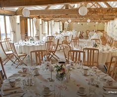 Curradine Barns set up for a wedding reception
