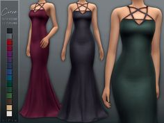 Circe Gown DOWNLOAD (TSR) base game compatible hq mod compatible new mesh 15 colors recolors/edits welcome - full t.o.u. please tag me if you use it ❤