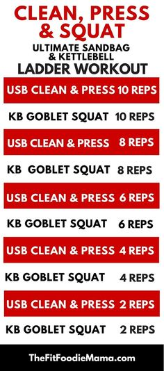 DVRT Ultimate Sandbag and Kettlebell Ladder Workout {Dynamic Variable Resistance Training, Strength Training, Functional Fitness, Clean Press and Squat Workout}