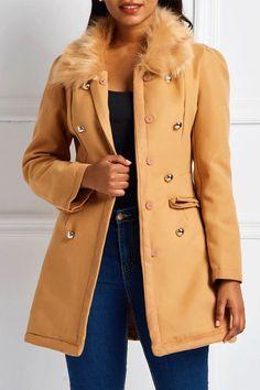 0ae3f69296390 Double-Breasted Slim Regular Mid-Length Fall Overcoat.#Overcoat#coat# · Faux  Fur ...
