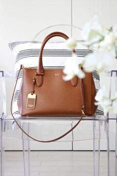 homevialaura   cognac brown leather   Lauren Ralph Lauren bag   Striped cushion   Kartell Louis Ghost
