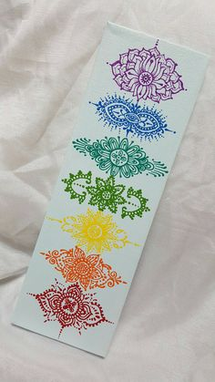 Henna Style Hand Painted Canvas with Chakra design