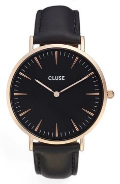 CLUSE La Bohème Leather Strap Watch, 38mm available at #Nordstrom i don't have a black watch:))))))))