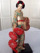 RARE Antique Vintage Geisha Doll Post War Japan Asian Fabric Doll Silk Kimono