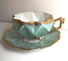 Aqua Tea Cup and Saucer Set  Sealy  Vintage by CraveCute on Etsy, $40.00