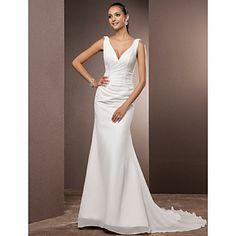 [BlackFridaySale]Wedding Dress Trumpet Mermaid Court Train Chiffon V Neck Bridal Gown - USD $ 139.99