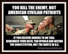 If you're in the military or law enforcement, remember, you swore an oath to defend the American constitution. You did not swear an oath to promote world government. ~ RADICAL Rational American's Defending Individual Choice And Liberty