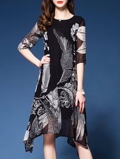H-line Crew Neck Half Sleeve Floral-print Casual Midi Dress