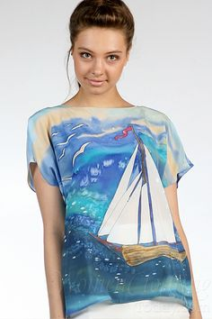 Hand Painted Silk blouse with romantic design of the sail boat. Every woman deserves the piece of wearable art like this. Made from silk crepe and Green Dyes. Painted Silk, Hand Painted, Dresses Art, Textiles, Silk Art, Painted Clothes, Fashion Painting, Silk Crepe, Fabric Painting
