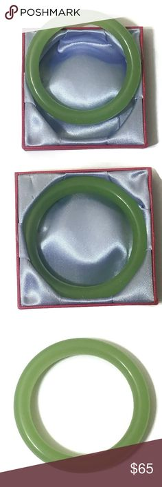BEAUTIFUL CHINESE JADE BANGLE A gorgeous vintage Chinese green jade bangle bracelet. Includes keepsake satin lined box.   ✔️posh rules only ❌no lowballing  ➡️price is firm unless bundled ⬅️  ⭐️I'm a suggested user and party host, posh ambassador, posh mentor, and I'm five star rated so buy with confidence!⭐️  H A P P Y  P O S H I N G  🖤⭐️🎈⭐️🖤⭐️🎈⭐️🖤⭐️🎈⭐️🖤⭐️🎈⭐️🖤 Vintage Jewelry Bracelets