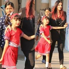 Aishwarya Rai Bachchan and Abhishek Bachchan, on Thursday, attended daughter Aaradhya Bachchan's school annual day event. Aishwarya Rai Photo, Aishwarya Rai Bachchan, Cool Braid Hairstyles, Kids Hairstyle, Wedding Hairstyles, Dresses Kids Girl, 50s Dresses, Fashion Dresses, Aaradhya Bachchan