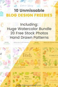 10 Unmissable Blog Design Freebies. Download a Huge Watercolor Bundle, 20 Stock Photos Bundle, Hand Drawn Patterns and more...