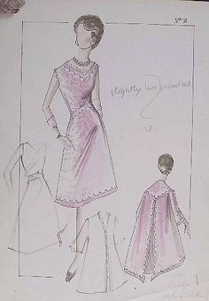 Norman Hartnell Fashion design this was a wedding gown with a jacket they were made in 1940s and were on made yellow with a blue and lace finish as there were non made in the original pattern of purple and white as the women making them thought that she wanted her wedding dress to be those colours so they had to change the plans so that hers was more original !