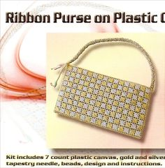 "Plastic canvas purse using 1/4""wide gold ribbon."