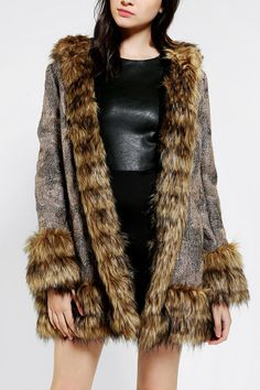 MINKPINK Magic Carpet Faux Fur-Trim Coat