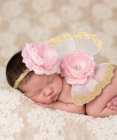 Love this Gold & Pink Glitter Butterfly Wings & Headband by The Tiny Blessings Boutique on #zulily! #zulilyfinds