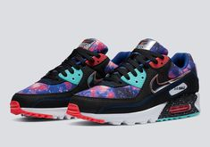 Color: Black/White/Multi-color Style Code: CW6018-001 First seen by itself back in April, this galaxy print-laden Nike Air Max 90 is part of The Swoosh's space-themed collaboration with Foot Locker Inc., which arrives on June 20th. While adjacent Nike Air Max Plus and Nike Air Max 270 React pairs are equally as eye-catching, the Tinker Hatfield-designed silhouette's outer space-inspired ensemble has quickly become a fan-favorite. Nike Air Max Plus, New Nike Air, Air Max 90, Nike Fashion, Sneakers Fashion, Gothic Fashion, Nike Images, Sb Stefan Janoski Max, Streetwear