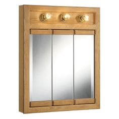 Design House Richland Nutmeg Oak-lighted 3-door Tri-view Mirror Wall Cabinet - Overstock Shopping - Great Deals on Design House Bathroom Cabinets
