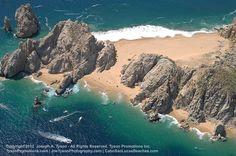 Aerial for of lover's beach (playa del amor) and Divorce Beach (Playa del Divorcio) - cabo san lucas