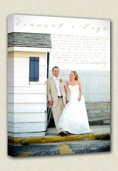 Your Photograph printed on Canvas with vows,poem, lyrics  by Geezees