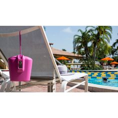 pink portable safe at public and hotel pools