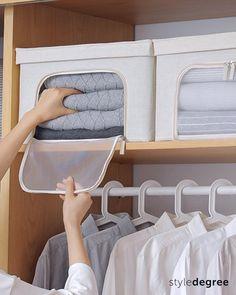 Small Closet Organization, Home Organization Hacks, Small Closet Storage, Organizing, Diy Clothes Life Hacks, Clothes Storage Boxes, Diy Storage Boxes, Linen Cupboard, Cupboard Storage