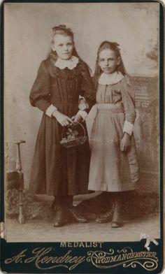 CDV 2 Victorian Girls Dress Fashion - Hendrey of Godmanchester Cambridgeshire