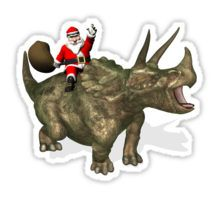 Santa Claus Riding A Triceratops Stickers