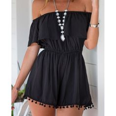 Fashionable Slash Neck Solid Color Short Sleeve Romper For Women