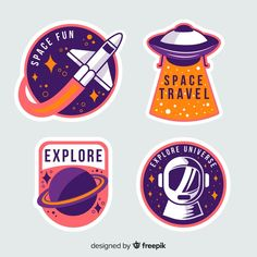Colorful collection of space stickers Free Vector Badge Design, Logo Design, Lab Logo, Sports Graphic Design, Love Stickers, Journal Stickers, Aesthetic Stickers, Packaging Design Inspiration, Sticker Design
