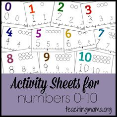 Activity Sheets for Numbers 0-10 -- Knowing the names of numbers and understanding what they mean is an important math skill learned in preschool. Preschoolers should have plenty of practice counting, identifying numbers, and one-to-one correspondence. Here are free printable activity sheets for numbers 0-10.